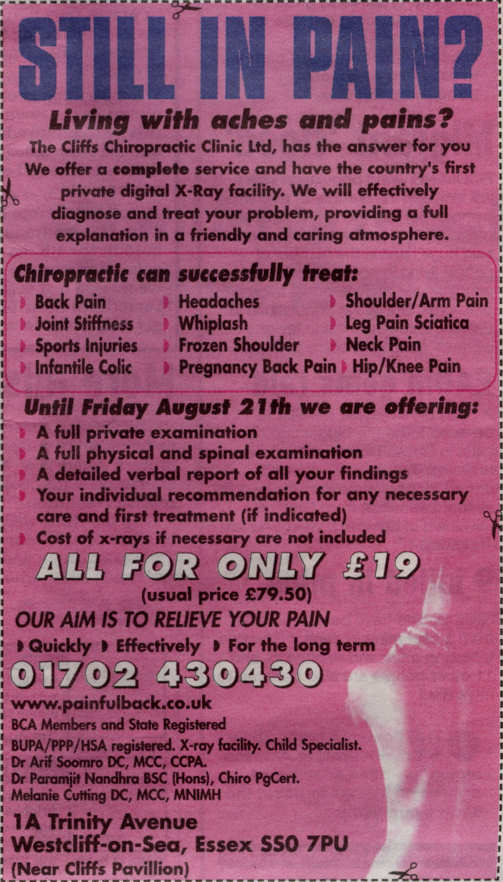 Cliffs Chiropractic Clinic - Advert 1