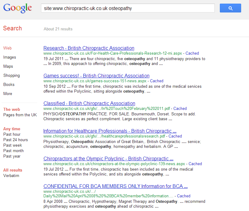 BCA osteopathy search results